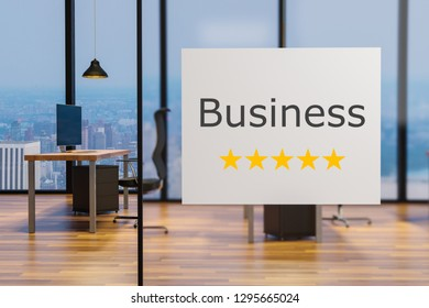 white billboard on glass wall in a office business, five star rating, 3D illustration