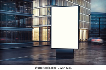 white billboard on the street 3d rendering