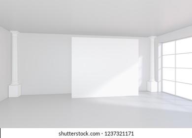 White billboard standing near a window in a white room. 3D rendering.