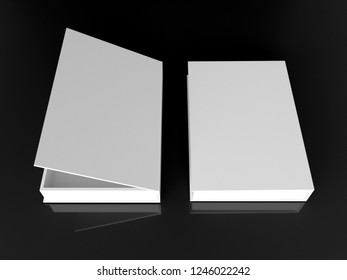 White binder layout for books on a black background. 3D