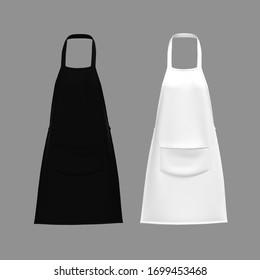 White and black aprons, apron mockup, clean apron, 3d rendering, 3d illustration