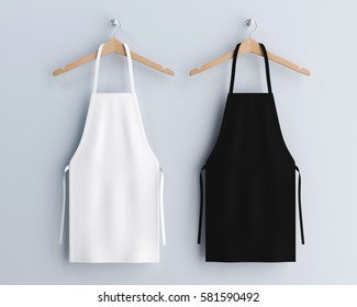 White and black aprons, apron mockup, clean apron