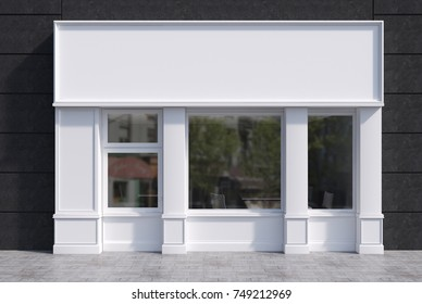 White and black cafe exterior with a square poster in the window and a large blank sign above it. 3d rendering mock up