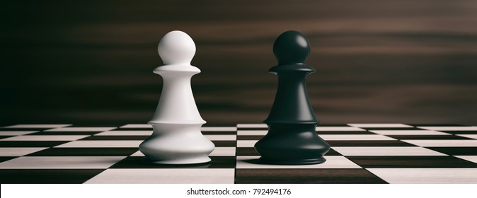 White and black chess pawns soldiers on a chessboard. 3d illustration