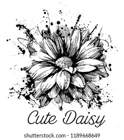 White and black daisy with around texts design. JPEG format.