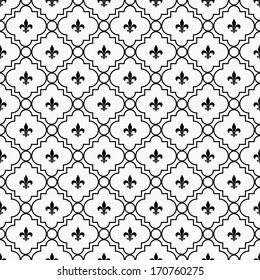 White and Black Fleur-De-Lis Pattern Textured Fabric Background that is seamless and repeats