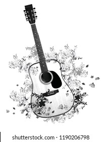 White and black guitar with around flowers and shapes. JPEG format.
