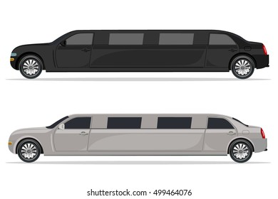 white and black limousine, design element, flat
