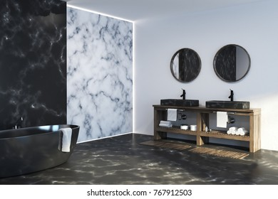 White and black marble bathroom corner with a black marble floor, a tub and a double sink. 3d rendering mock up