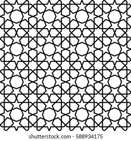 white and black mosaic moroccan zellige seamless.  illustration