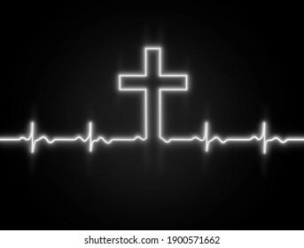 White black neon glowing line, Heartbeat concept, Lifeline background wallpaper design.Cross of God Lord Jesus Christ.Heart rhythm. ECG. Cardiogram.Faith.Christian banner design.Light effect on black.