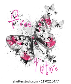 White, black and pink patterned butterflies with around shapes and texts. JPEG format.