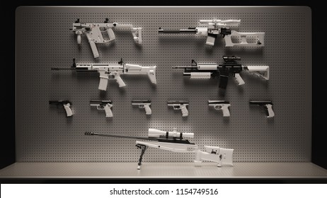 White and Black Snow Camouflage Firearms Display 3d Illustration 3d Rendering