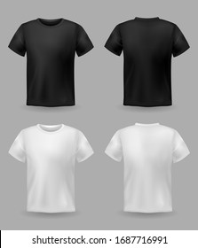 White and black t-shirt mockup. Sport blank shirt template front and back view, men and women clothes for fashion clothing realistic uniform for advertising textile print set