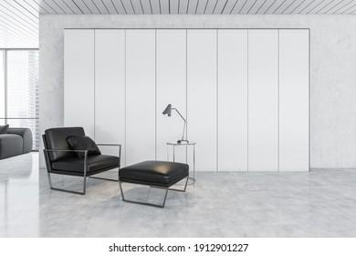 Weiß und schwarz Wartezimmer mit schwarzem Sessel für Geschäftsreisende. Helles Bürozimmer mit schwarzem Lederstuhl auf Marmorboden, 3D-Rendering