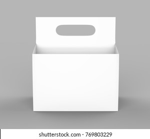 White blank 6 pack beer packaging on grey floor for mock up. 3d rendering
