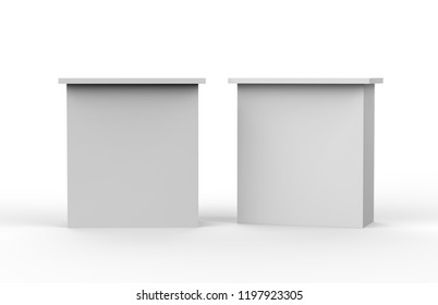 White blank advertising POS POI PVC Promotion straight pop up counter booth, Retail Trade Stand, Mock Up Template on the Isolated white background, 3D illustration