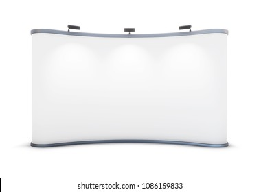 White blank advertising, trade stand on white background. 3d rendering. Stand for the presentation of curved shape, with backlight. Front view.