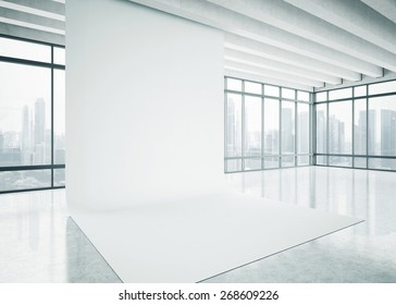 White blank background in the bright office. 3D rendering.