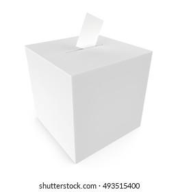 white blank ballot box - 3D rendering