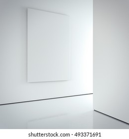 White blank canvas on the bright wall in modern gallery interior. 3d rendering