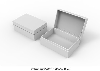 White blank cardboard hinged with ribbon closure box mock up template, 3d illustration.