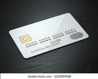 White blank credit cards mockup on black wood table background. 3d illustration