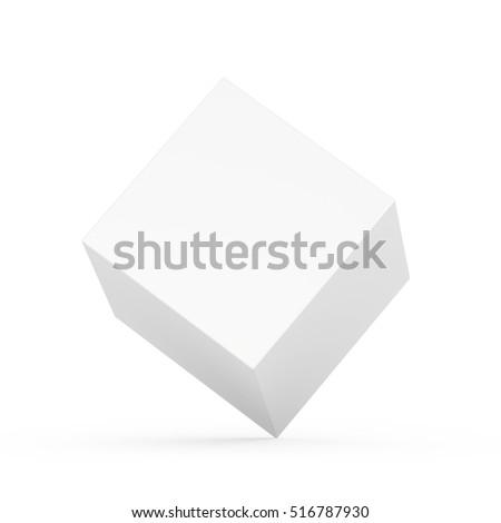 white blank cube box template on stock illustration 516787930