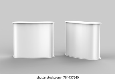 +White blank curved exhibit promotional counter advertising POS POI PVC booth, Retail Trade Stand Isolated on the white background. Mock Up Template For Your Design. 3D illustration.