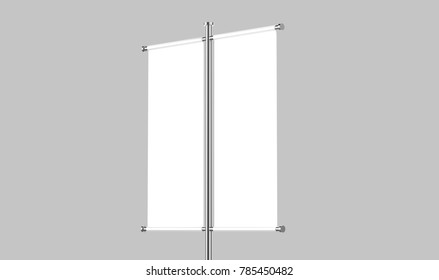 White blank double pole banner advertisement flag on grey background, 3d illustration