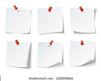 White blank draw papers, notes on red thumbtack. Top view note sticker with pins  set
