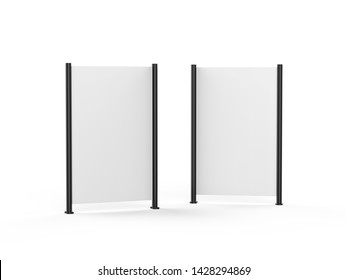 White blank empty high resolution Business roll up and standee banner display mock up template for your design presentation, 3d illustration