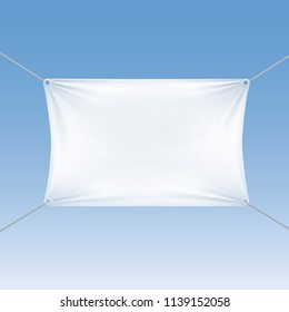 White Blank Empty Horizontal Rectangular Banner with Corners Ropes. Textile, Fabric or Nylon with Folds.  Illustration Isolated on Blue Background. Ready Template for Your Logo, Text and Design