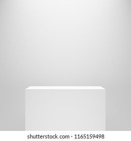 white blank empty rectangle pedestal template in front of white wall. 3d illustration