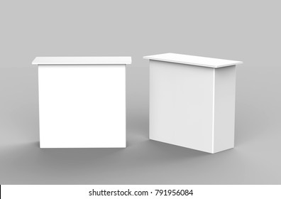White blank exhibit promotional counter table advertising POS POI PVC booth, Retail Trade Stand Isolated on the white background. Mock Up Template For Your Design. 3D illustration.