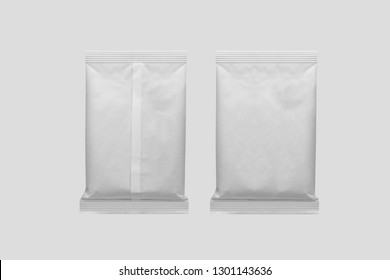 White Blank Food Pouch Bag Packaging. Packaging For Snacks, Chips, Sugar, Spices, Or Other Food. 3D rendering. Mock up template ready for your design.