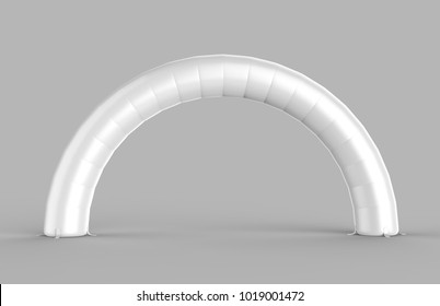 White Blank Inflatable Arch Tube or entrance gate. 3d render illustration.