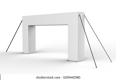 White Blank Inflatable square Arch Tube or Event Entrance Gate. 3d render illustration.