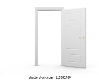 White blank opened door template, isolated on white background.