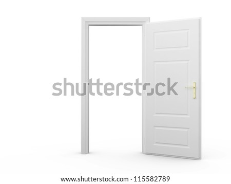 white blank opened door template isolatedのイラスト素材 115582789