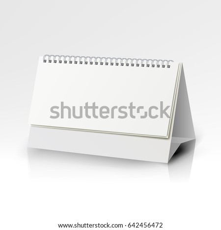 White Blank Paper Desk Spiral Calendar Stock Illustration Royalty