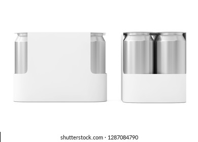 White Blank Paper Package for Drink Beer Cans with Blank Spase for Your Design on a white background. 3d Rendering