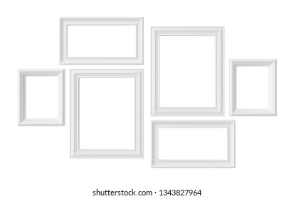 White blank photoframes isolated on white background, white colorless picture frames template set, photoframe mock-up 3D illustration