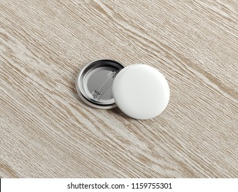 White blank pin buttons on light wooden background, 3d rendering.