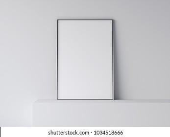 White blank poster on gray shelf. 3d rendering