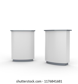White blank reception, information desk or exhibition counter or helping service stand. 3D rendering