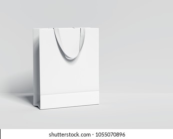 White blank shopping bag isolated on bright background. 3d rendering