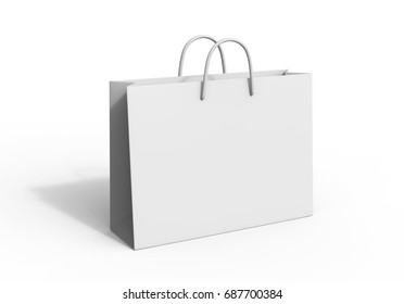 White blank shopping paper bag isolated on white background for mock up and template design. 3d render illustration.
