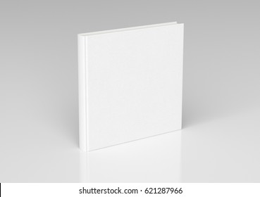 White blank square book cover standing isolated on white background with clipping path. 3d render