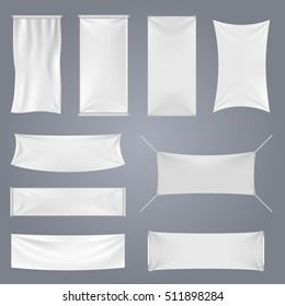 White blank textile advertising banners with folds templates. Empty smooth poster or placard set for advertising